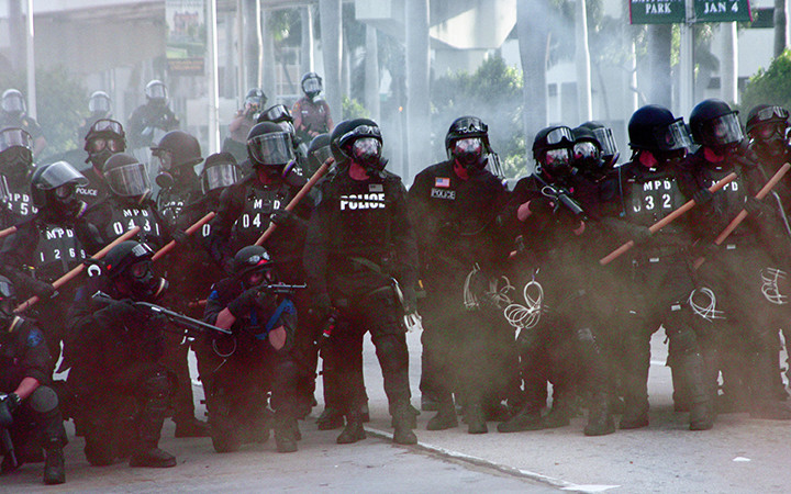 Police fire on protesters at anti-Free Trade of the Americas protest, Miami, FL (2003)