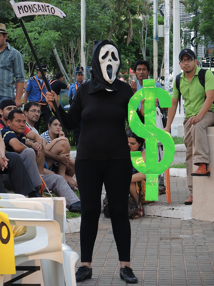 A skit close to the end of the rally alludes to what Monsanto really wants. PhotoLangelle