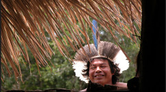 Indigenous man from Espírito Santo, Brazil after his community reclaimed their ancestral  land from Aracruz Celulose, a major pulp and paper manufacturer.