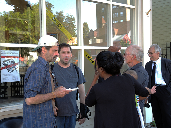 Outside of gallery. Attorney Daire B. Irwin (left). Photo: Petermann/GJEP