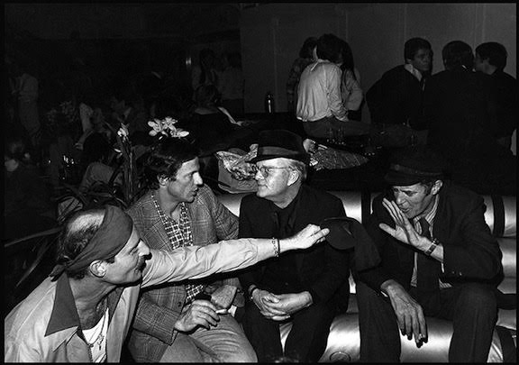 Truman Capote with Peter Beard at Studio 54 during Beard's 40th birthday party. This photo by Orin Langelle was published in the Adventures and Misadventures of Peter Beard in Africa, by Jon Bowmaster (1993)