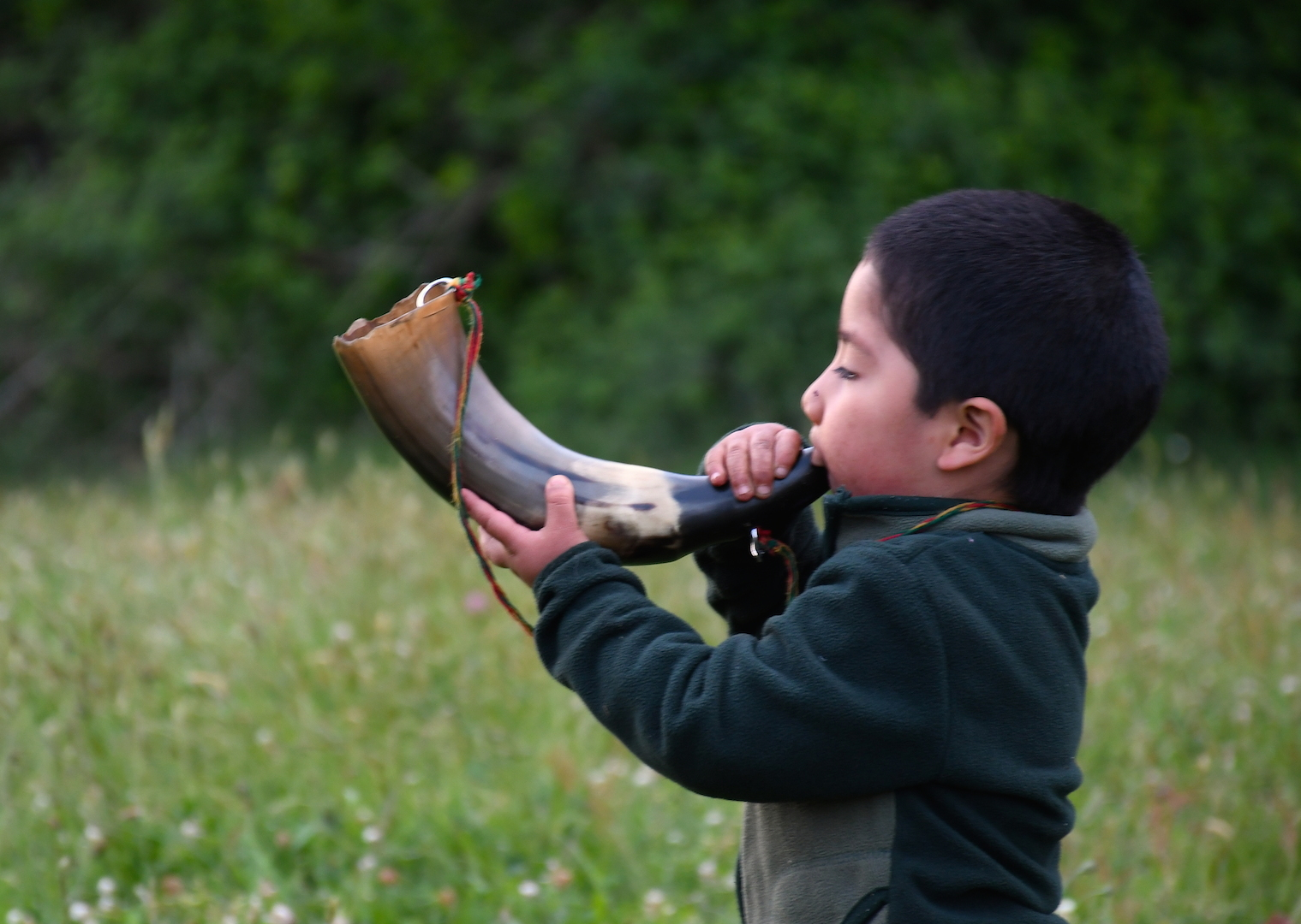 Mapuche boy plays with traditional Mapuche horn